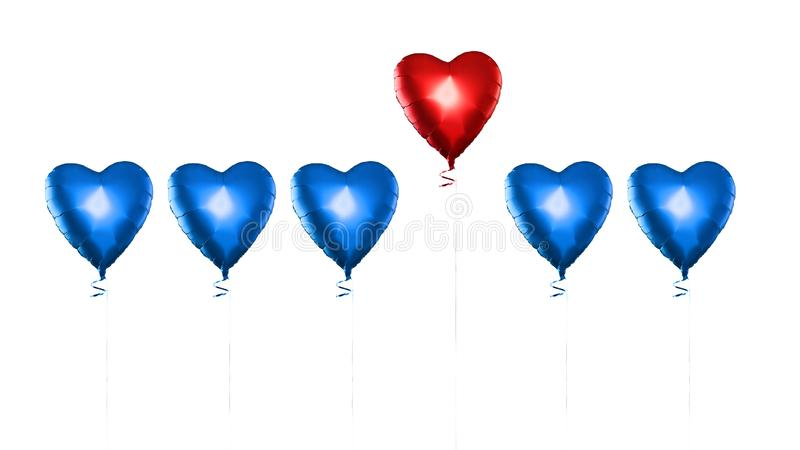 inst?llda luftballonger Gruppen av färghjärta formade folieballonger som isolerades på vit bakgrund F?r?lskelse Champagne p? is m vektor illustrationer