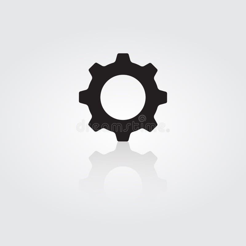 Inst?llningssymbol Kugghjulsymbolhjälpmedel på vit bakgrund vektor illustration royaltyfri illustrationer