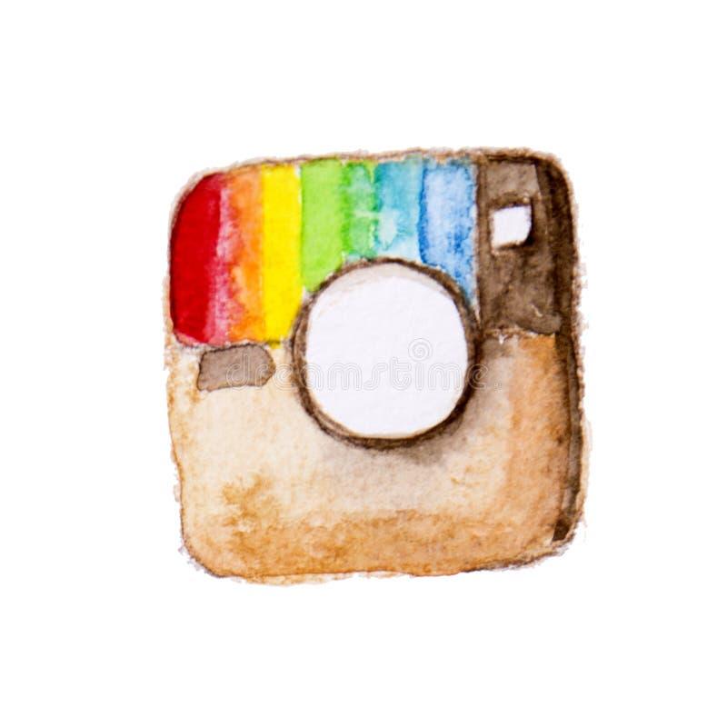 Insta ikona Akwarela ogólnospołeczny medialny element Kamera guzik ilustracji