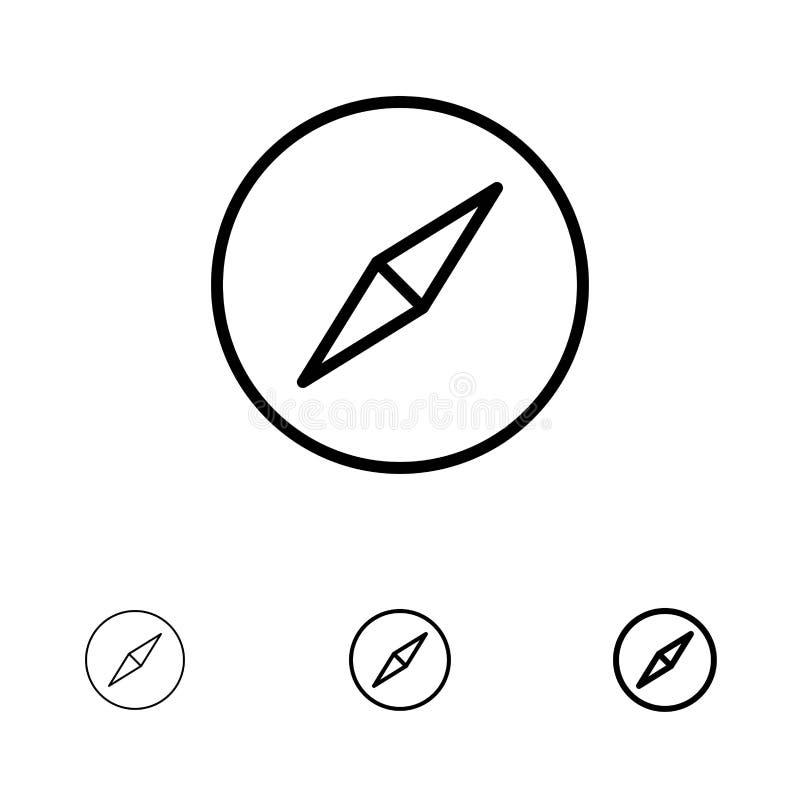 Instagram、Compass、Navigation Bold和细黑线图标集 皇族释放例证