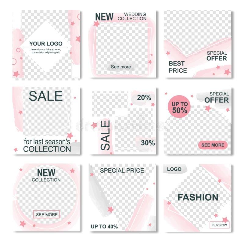 Instagram信息销售时尚故事的组装 向量例证