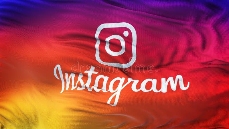Instagram商标五颜六色的光滑的梯度波浪背景墙纸 免版税库存图片
