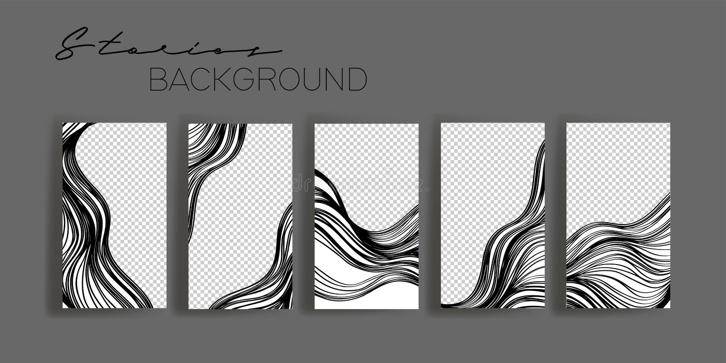 Instagram故事框架模板 社会媒介横幅的大模型 黑白抽象布局设计 皇族释放例证