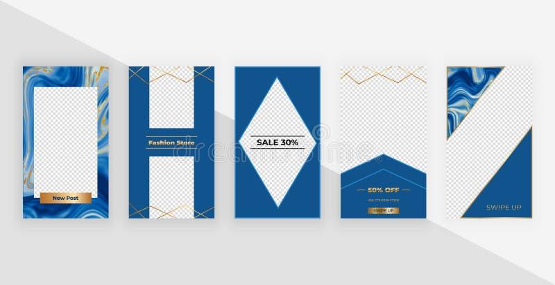 Instagram故事的时尚模板 社会媒介的,飞行物,卡片现代封面设计 库存例证