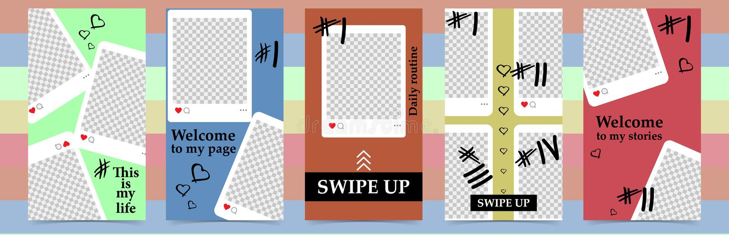 instagram故事的,销售时髦编辑可能的模板 社会媒介的设计背景 手拉的抽象卡片 皇族释放例证