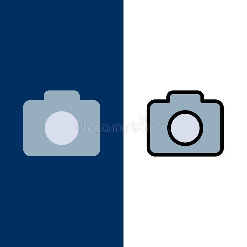 Instagram, κάμερα, εικονίδια εικόνας Επίπεδος και γραμμή γέμισε το καθορισμένο διανυσματικό μπλε υπόβαθρο εικονιδίων απεικόνιση αποθεμάτων
