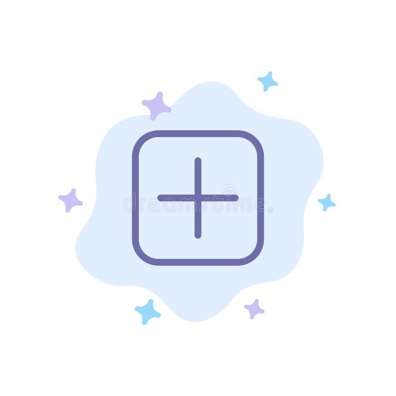 Instagram, положительная величина, наборы, значок загрузки голубой на абстрактной предпосылке облака иллюстрация штока