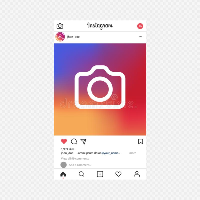 Instagram app Fotoramvektor f?r applikation Socialt massmedia begrepp och man?verenhet royaltyfri illustrationer