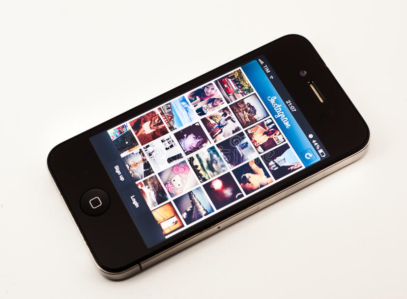 Instagram app op iPhone royalty-vrije stock foto's