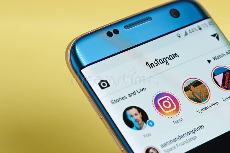 Instagram applikationmeny arkivbild