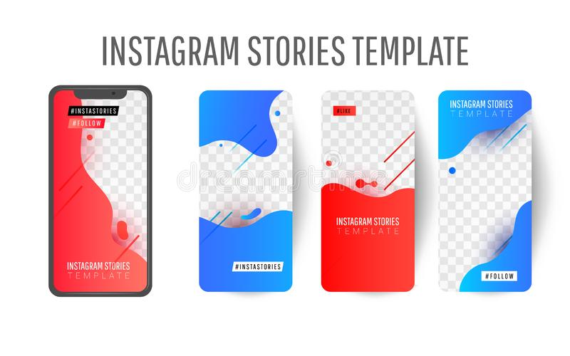 Instagram berättelsemall för socialt massmedia stock illustrationer