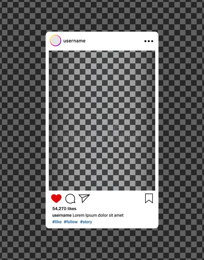 Instagram bloger. Social media photo frame with heart, loupe.Post interface for social media.vector eps10. Instagram bloger. Social media photo frame with heart royalty free illustration