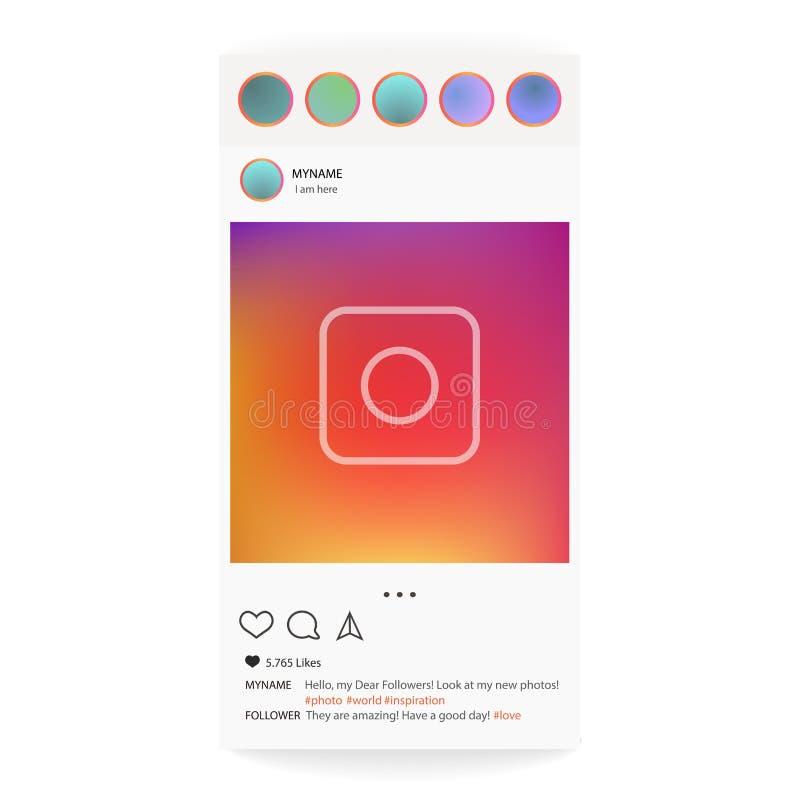 Instagram Fotoramvektor för applikation Socialt massmedia begrepp och manöverenhet royaltyfri illustrationer
