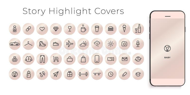Instagram głównych atrakcji opowieści pokryw kreskowe ikony Doskonalić dla bloggers Set 40 głównych atrakcji pokryw r royalty ilustracja