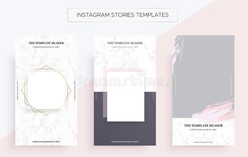 Instagram-Geschichten-Fahnenschablonen mit Marmor lizenzfreie abbildung