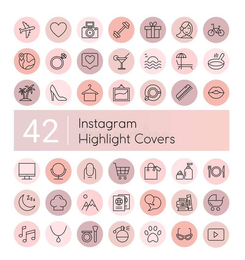 Free Instagram Highlight Vector Illustration Icons Set, Social Media Instagram Collection Of Pink Flat Line Covers For Female Stock Photography - 180939462