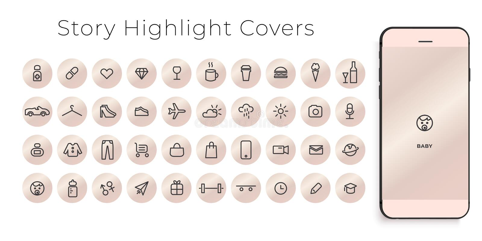 Instagram Highlights Stories Covers line Icons. Perfect for bloggers. Set of 40 highlights covers. Fully editable vector file royalty free illustration