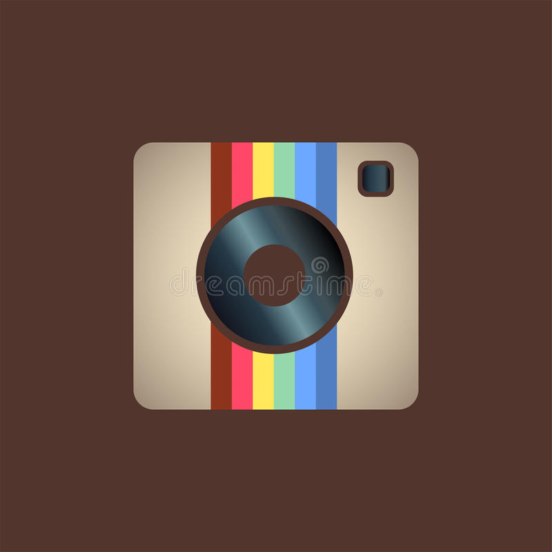 Instagram icon. Hipster photo or camera icon on a white background vector illustration