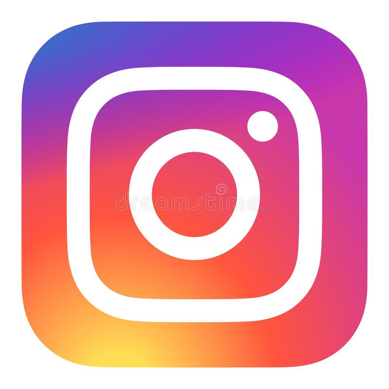 Instagram icon vector. Instagram multicolor icon on white background royalty free illustration