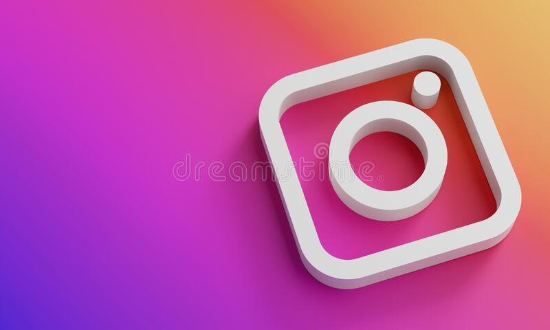 Instagram Logo Minimal Simple Design Template. Copy Space 3D stock photography