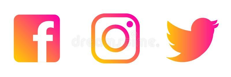 Instagram, logotipo de Twitter Facebook ilustración del vector
