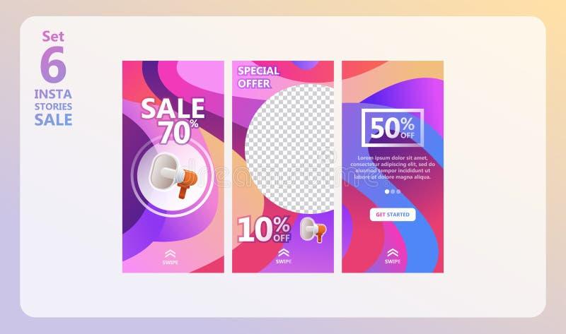 Instagram opowieści sprzedaży set royalty ilustracja