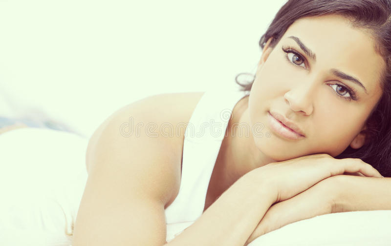 Instagram Portrait Girl Thoughtful Young Hispanic Woman stock photography