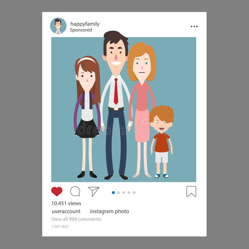 Instagram post of a happy family stock illustration