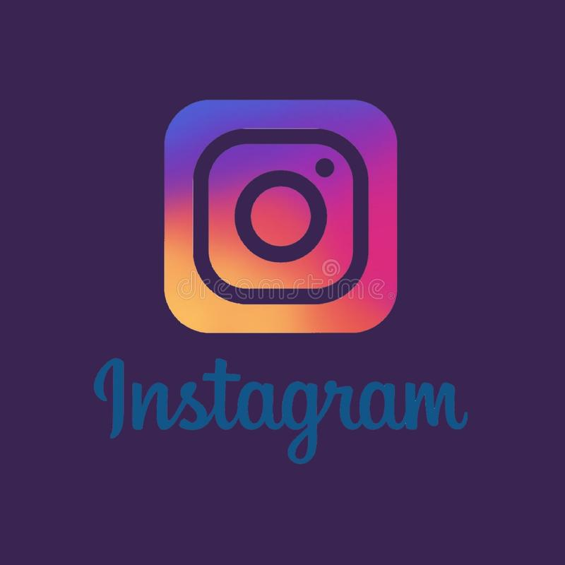 Instagram social media icon ilustration with dark background. Social, network, post, frame, your, photo, ilustration, love, template, blank, concept, icon royalty free illustration