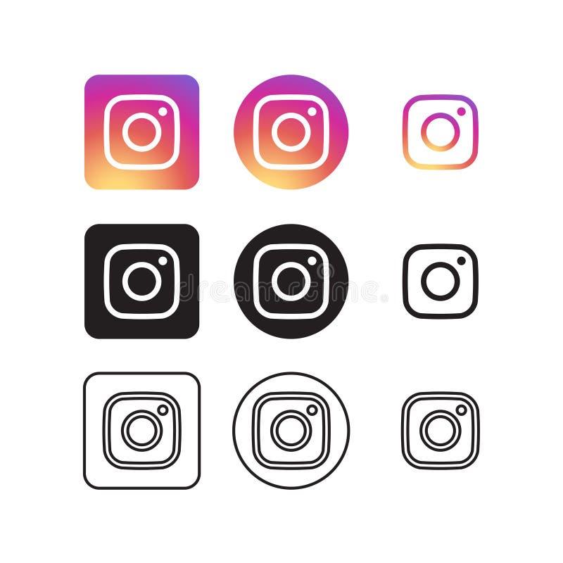 Instagram sociala massmediasymboler royaltyfri illustrationer