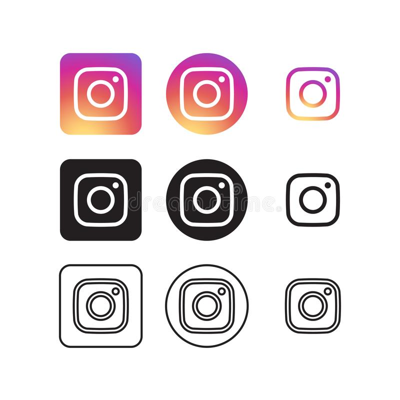 Instagram Sociale Media Pictogrammen royalty-vrije illustratie