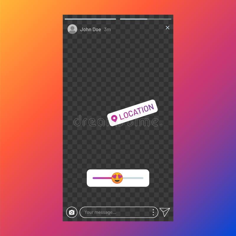 Instagram stories interface. Poll element in social media, stories UI template, stories response sticker. Vector app stock illustration