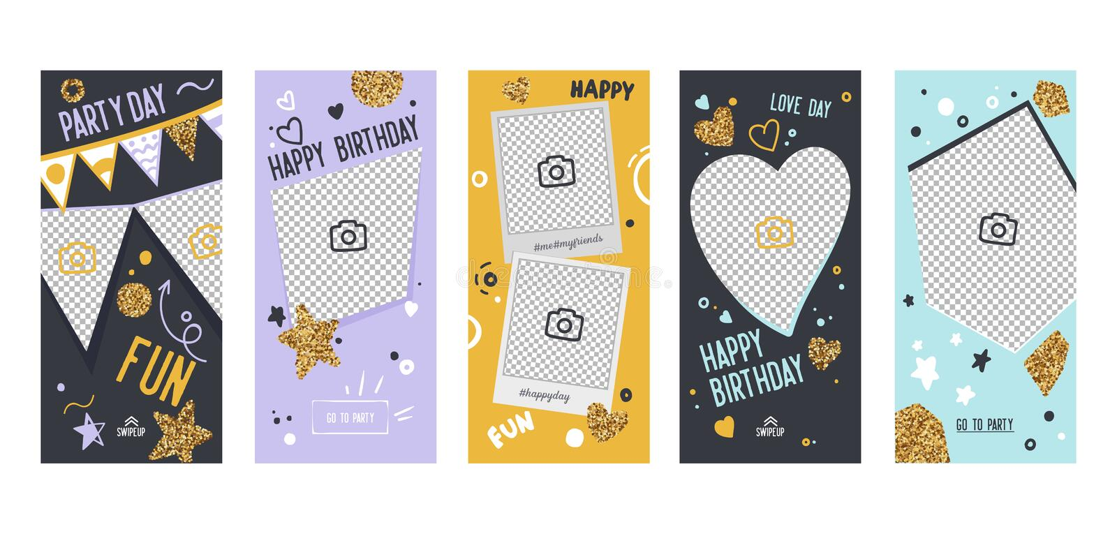 Instagram Story Happy Birthday Banner Mobile App Page Onboard Screen Set. Fun Glitter Heart Star Design. Social Media. Instagram Story Happy Birthday Banner royalty free illustration