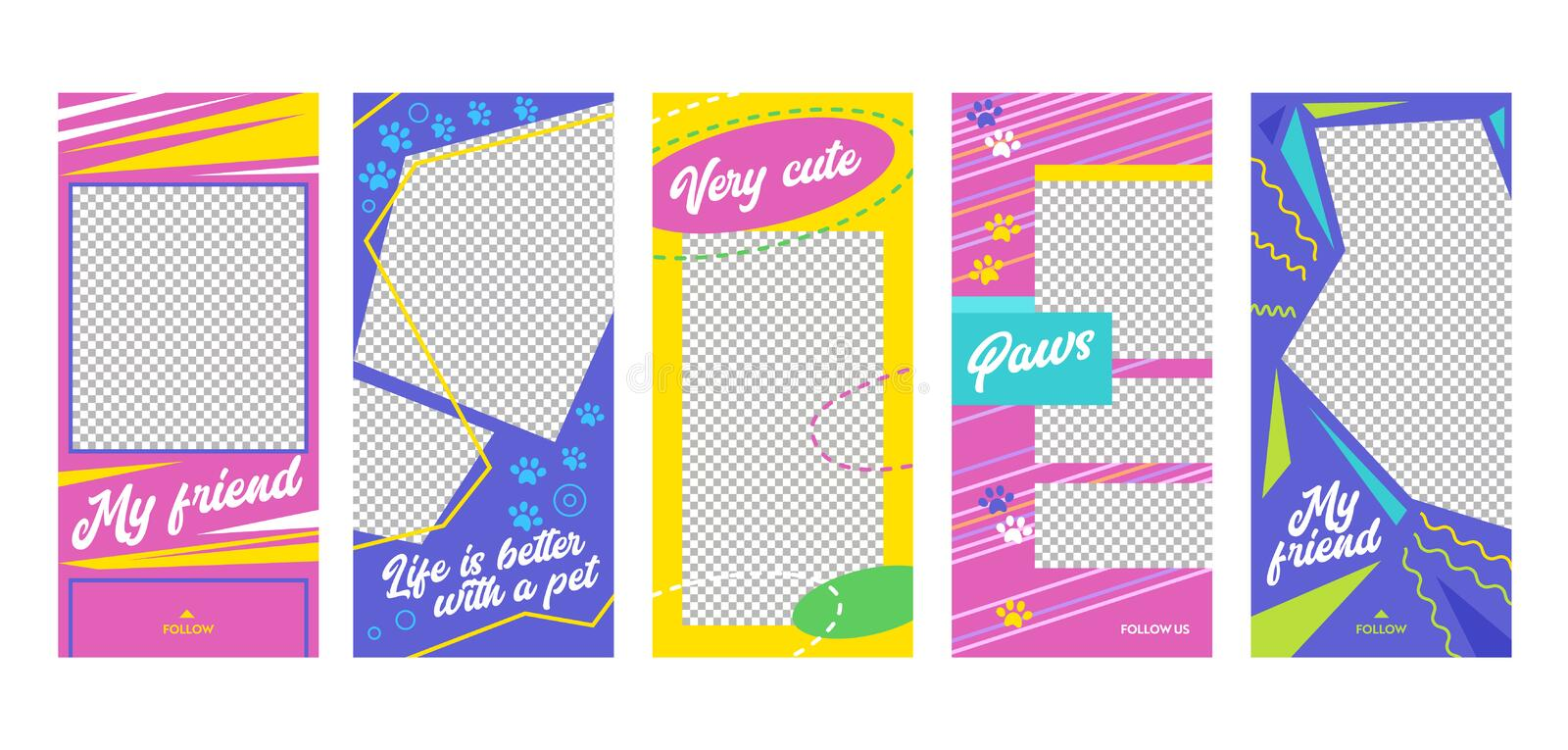 Instagram Story Very Cute Pet Friend Mobile App Page Onboard Screen Set. Colorful Blue Yellow Pink Design with Trace. Social Media. Background Website or Web stock illustration