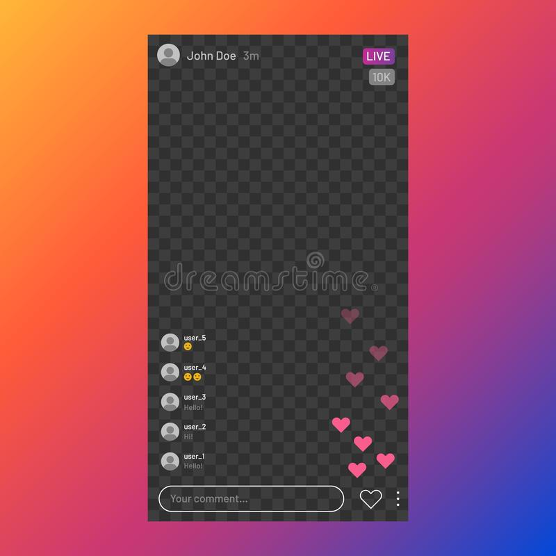 Instagram stream interface. Social media live streaming service, mobile app frame UI, live video. Vector stories UI stock illustration
