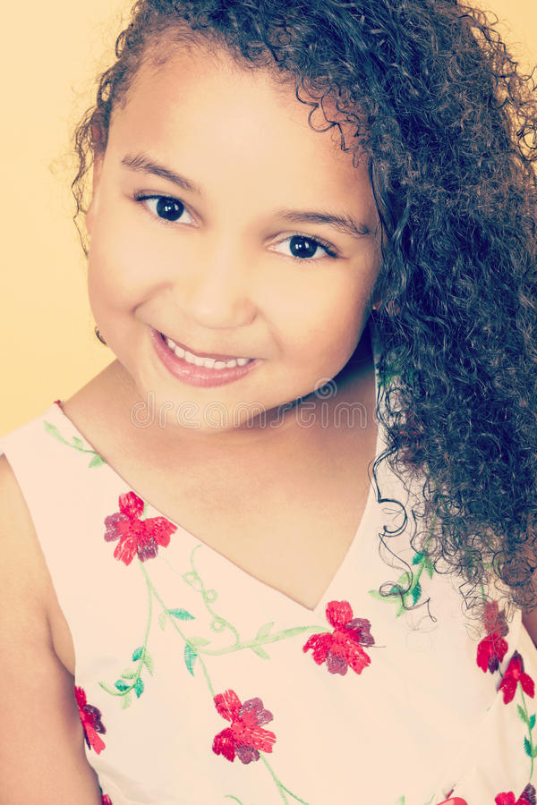 Instagram Style Happy African American Mixed Race Girl stock photo