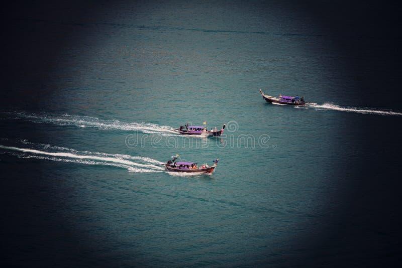Instagram Sutro过滤器三艘汽艇的作用图片 库存照片