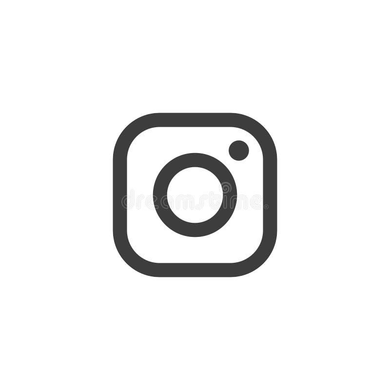 Instagram Vectorembleem Pictogrampictogram voor Webontwerp, populair picssymbool Webpictogram van moderne lineartcamera op witte  stock foto's