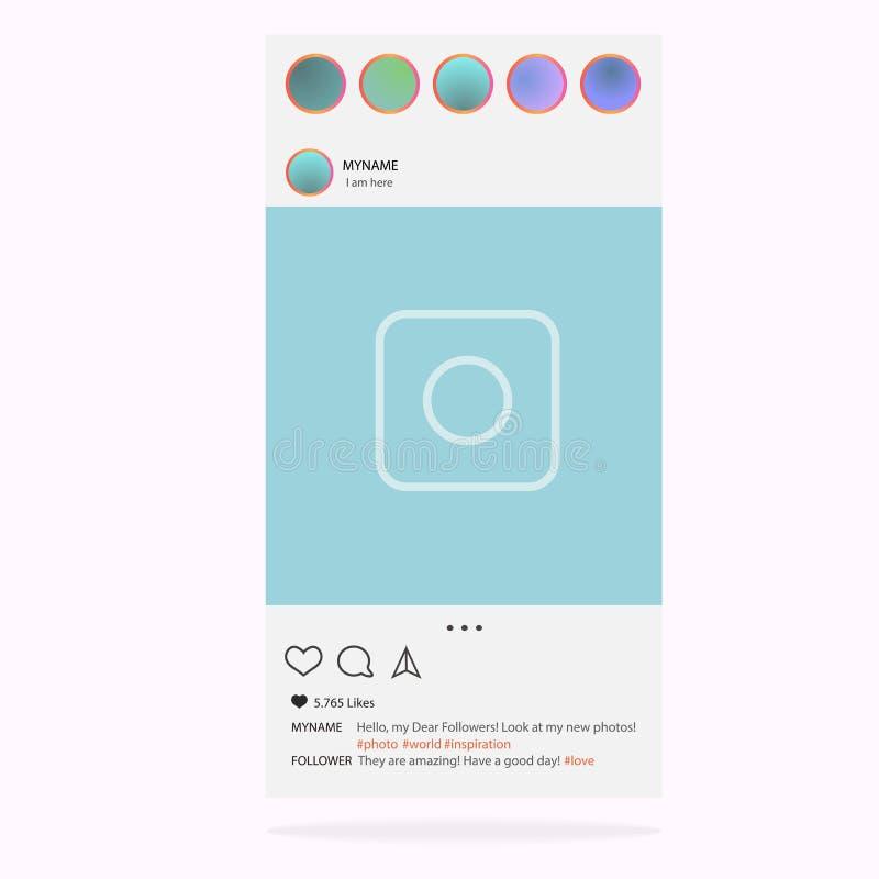 Instagram Vettore della struttura della foto per l'applicazione Concetto ed interfaccia sociali di media illustrazione vettoriale