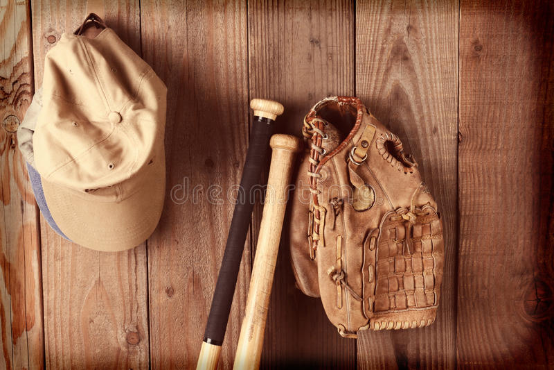 Instagram-Weinlese-Baseball-Stillleben lizenzfreie stockbilder