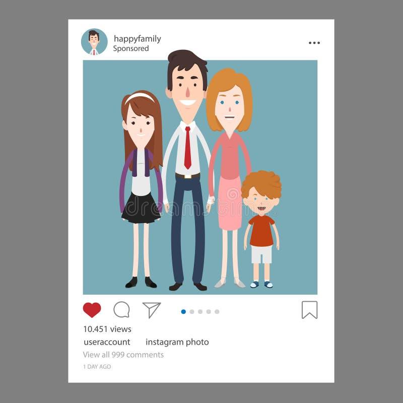 Instagrampost van een gelukkige familie stock illustratie