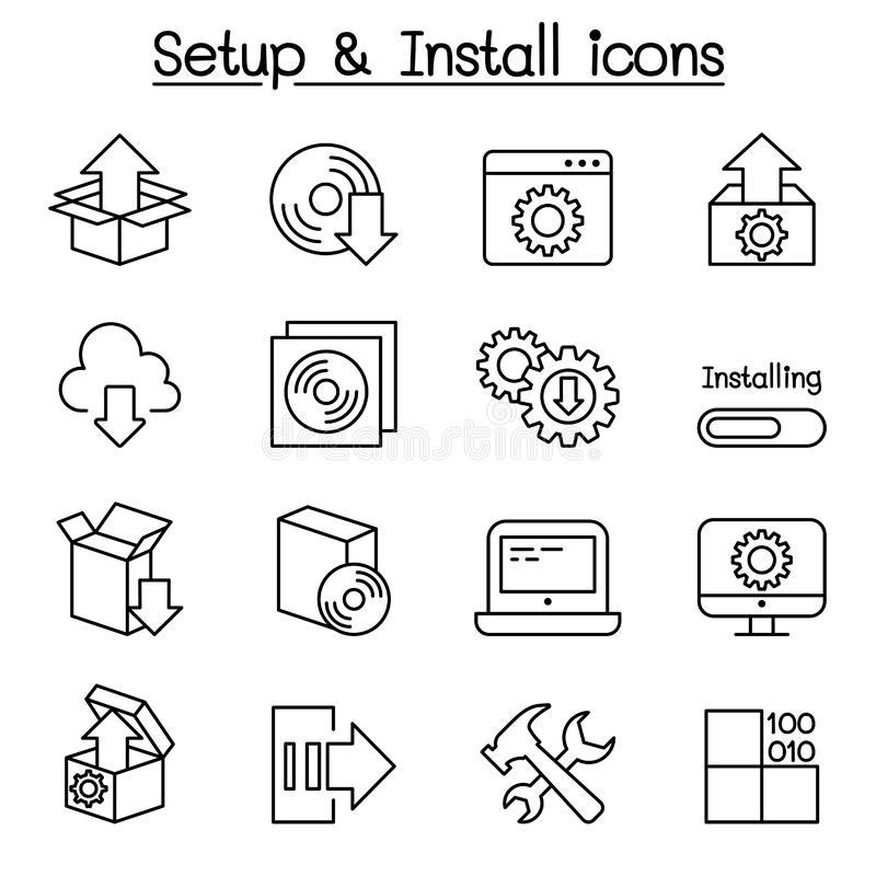 Instalação, configuração, manutenção & de ícone da instalação grupo ilustração do vetor