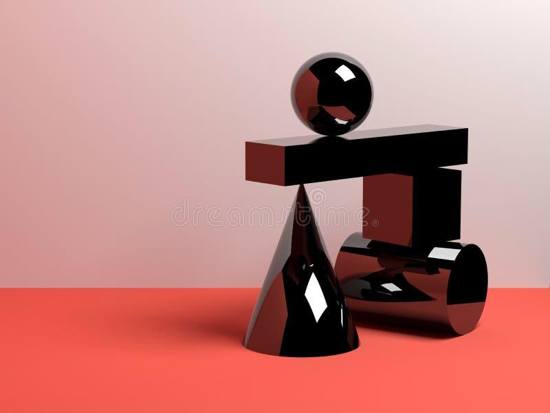 a instalação 3d de formas geométricas pretas ilustração royalty free