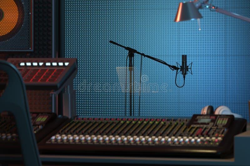 Instalação da Estação de Música do Studio Computer Console de mixagem de áudio profissional renderização 3d ilustração do vetor