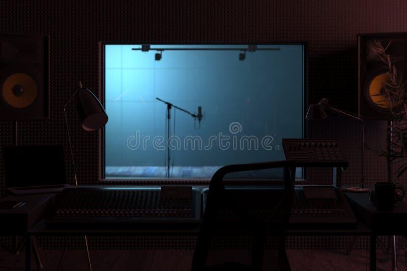 Instalação da Estação de Música do Studio Computer Console de mixagem de áudio profissional renderização 3d ilustração royalty free