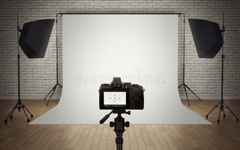 Instalação da luz do estúdio da foto ilustração do vetor