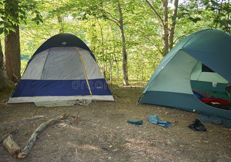 Instalação das barracas do acampamento fotografia de stock