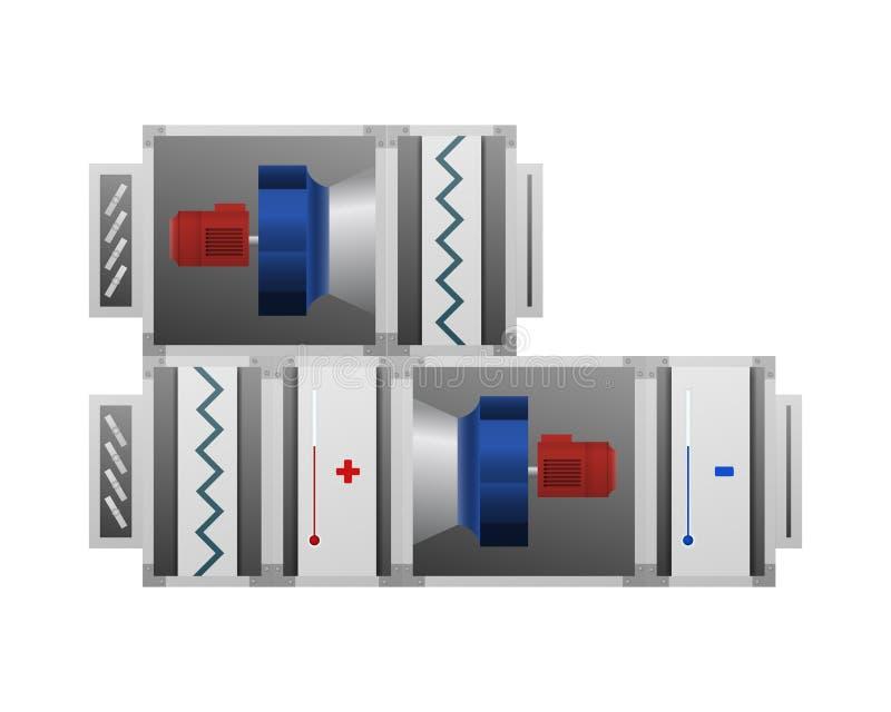 A instalação de ventilação com aquecimento e ar refrigerando ilustração do vetor