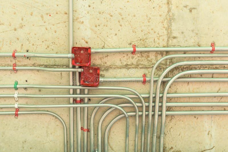 A instalação elétrica da rede fotografia de stock