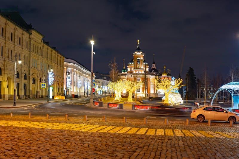 A instalação no quadrado de Manege, Rússia do Natal fotografia de stock